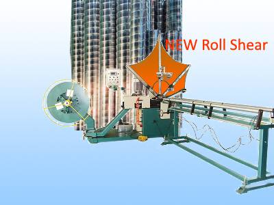 Roll shear spiral duct machine
