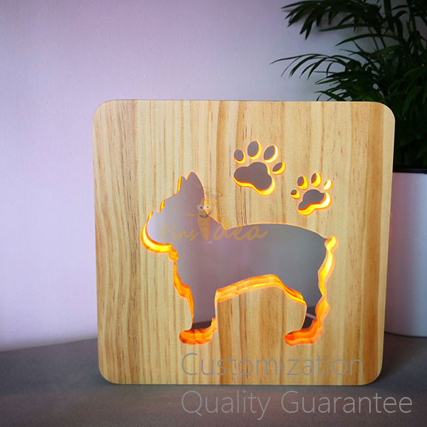 Best Seller Pet Aftercare Memorial Gifts Wooden Paws and Dogs Light