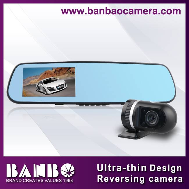 4.3inch dual lens reversing mirror camera with bluetooth