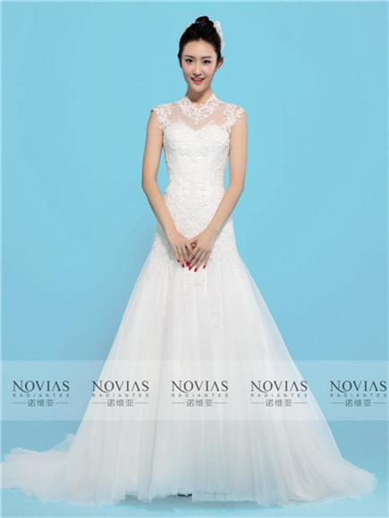 Cap Sleeve High Neck Lace A-line Wedding Gown
