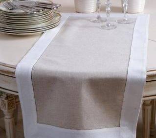 Bar hemstitched linen table runner