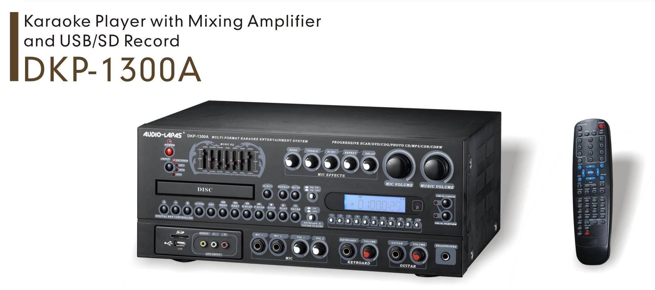 Karaoke player with mixing amplfier and USB/SD record
