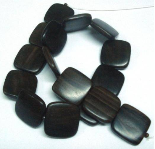 Tiger Ebony Flat Square Wood Beads 25x25x5-6mm Center Side Drilled