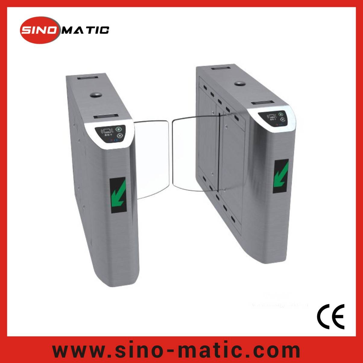 Mirror finish optical IC/ID reader automatic flap sliding barrier