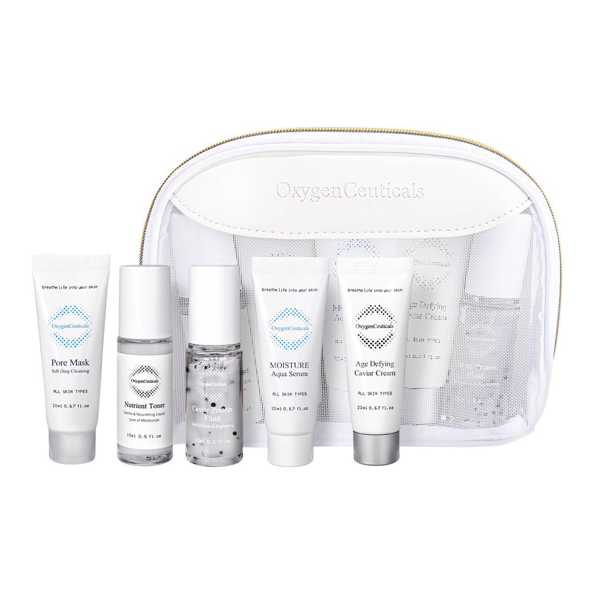 Age Defying Kit Skin Care Set with facial cleanser toner fluid serum cream