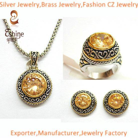 Cable and Flora Designs Sterling silver jewelry Designer inspired jewelry set with round Champagne C