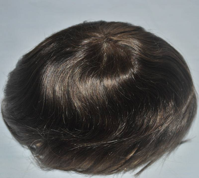 Dark brown2# mens toupee 100% real hair base size adjustable French lace PU around