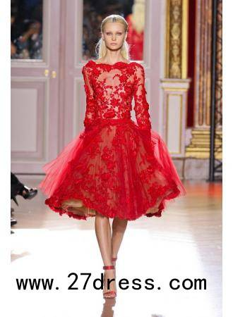 Zuhair Murad Dress Scoop Long Sleeve Red Tull Lace Knee Length Ball Gown Prom Evening Dresses