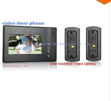 7 inch video door phone intercom ,one monitor with two camera station