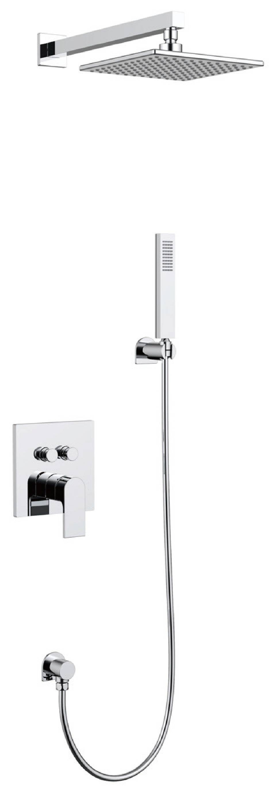 Modern chrome brass wall mounted bathroom concealed shower mixer