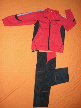 Comfortable Red and Black Cotton Ourdoors Tracksuit