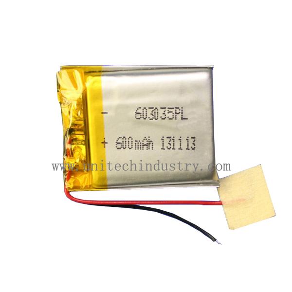 Lithium polymer battery pack for UT603035 600mAh