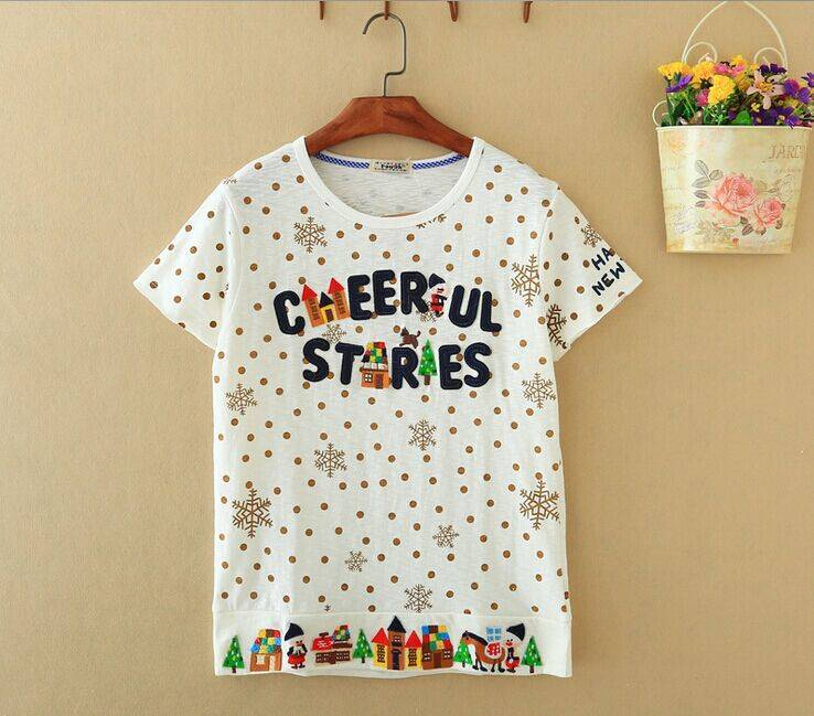 2015 New Lady Cheerful Stores Short SleeveT-Shirt
