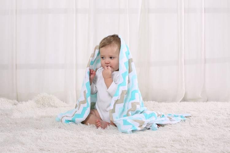 LAT Baby 100% Organic Cotton Muslin Swaddle Blanket
