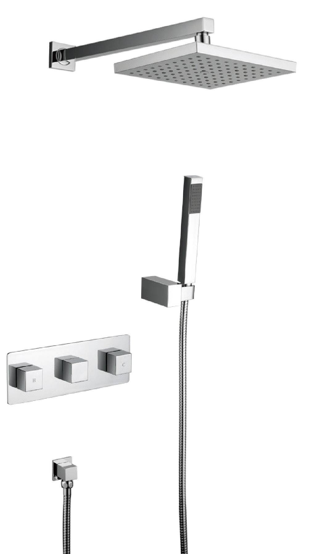 High quality chrome brass wall mounted bathroom concealed shower mixer