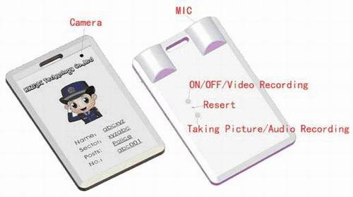 ID card type micro-recorder/camera/recorder