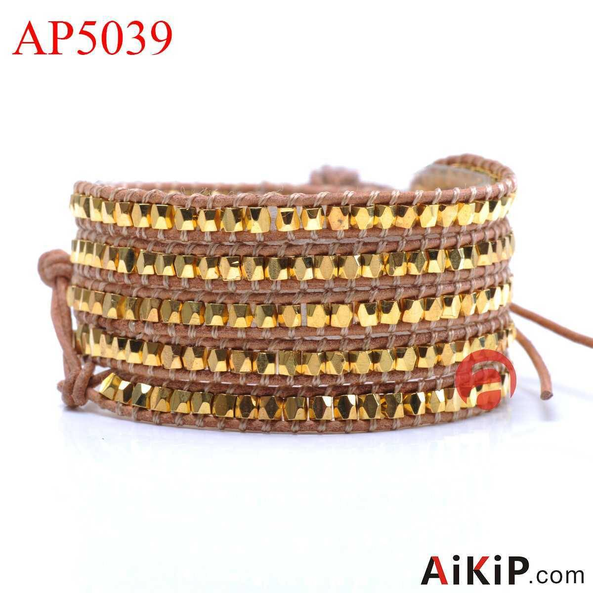 copper gold plated leather stainless steel clasp wrap bracelet