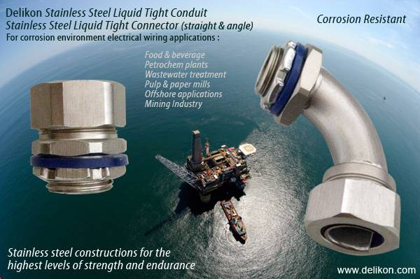 Corrosion Resistant Stainless Steel Liquid tight Connector stainless steel liquid tight conduit