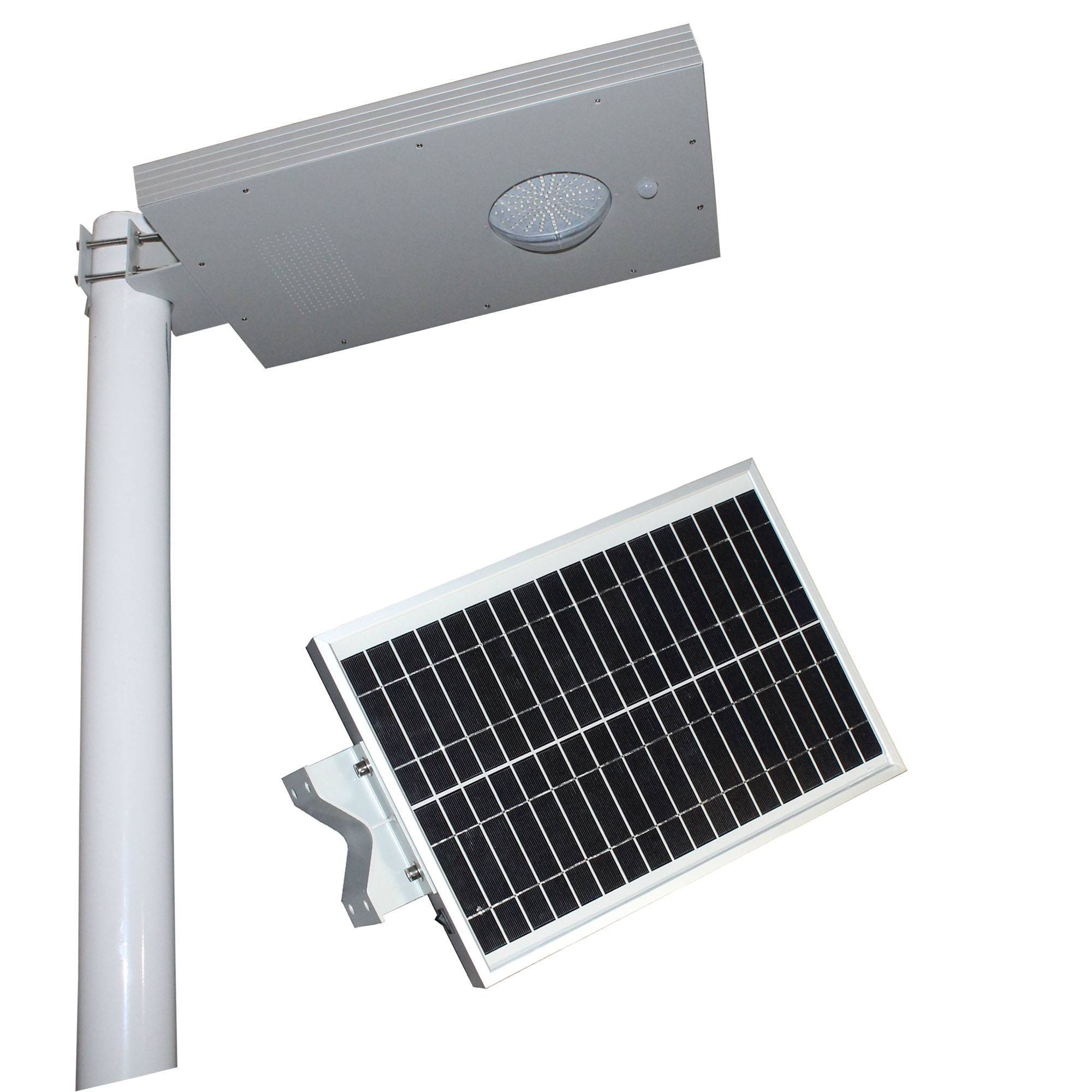 Integrated solar light with high brightness LED lamp