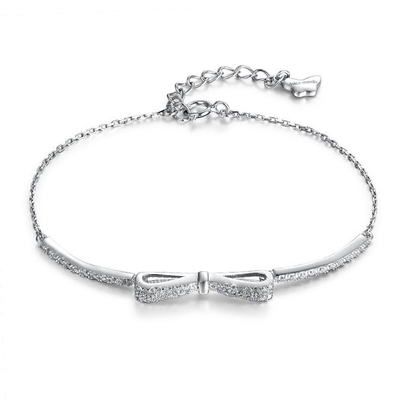 Design Your Own Jewelry | Bow Charm Bracelet Silver | Clear Zirconia Bracelets