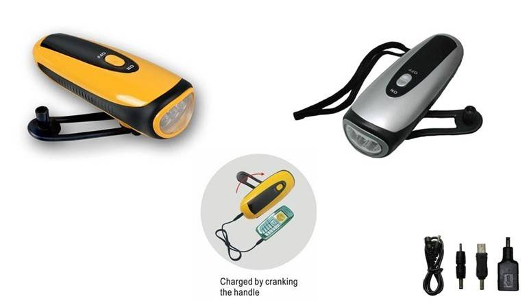 FL-281B Wind-up Flashlight with Charger for Cellphone Crank dynamo torch