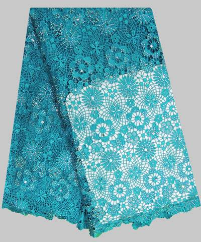 CORD/GUIPURE LACE WITH MANY STONES