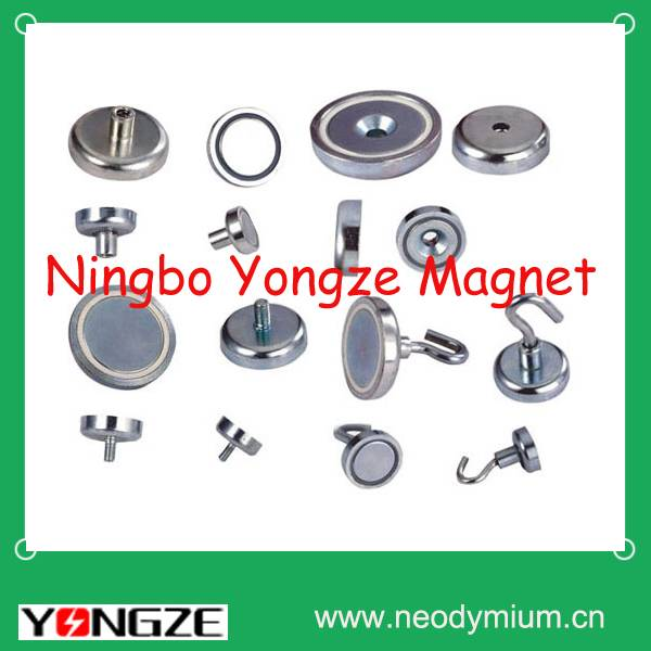 Neodymium pot magnet with hook,eyelet, countersunk