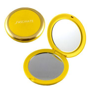 Round shape double sided pocket cosmetic mirror with crystal decoration