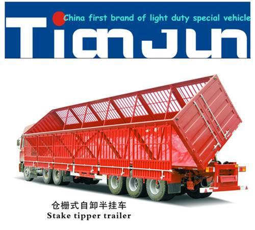 New Type China TianJun 3axles Cargo/Stake Side Tipping Semi Trailer
