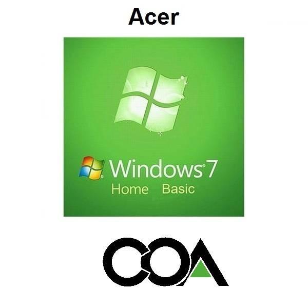 Microsoft Windows 7 Home Basic Acer COA Sticker