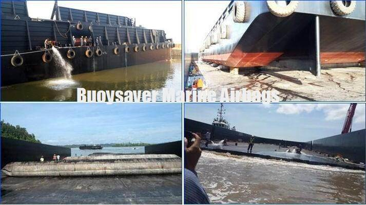 New Barge vessel launched from another Barge by Buoysaver Rubber Airbags in Indonesia PMG Shipyard