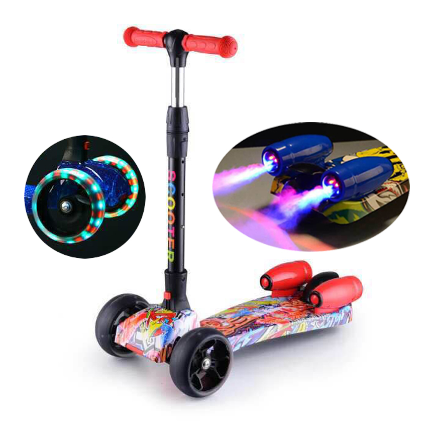 hot selling 3 wheels folding kids maxi scooter with music
