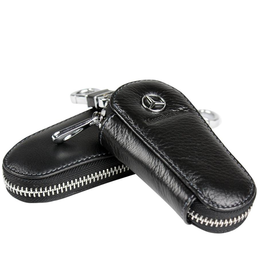 Leather car key case with car brand logo