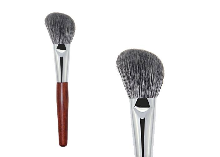 Bronzer Makeup Brush With Copper Ferrule Goat Hair Red Wooden Handle