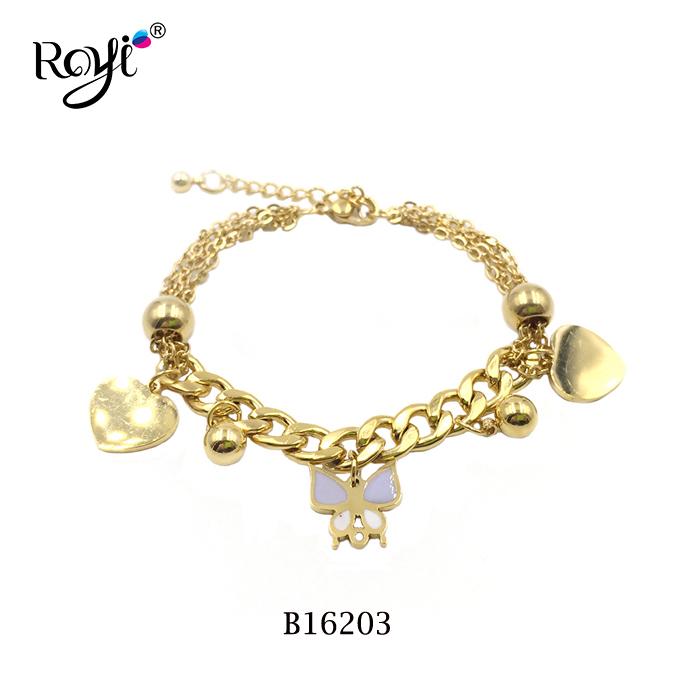 enamel butterfly charms bracelet