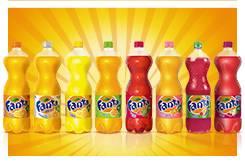Fanta Orange, Fanta Strawberry, Fanta Cherry. etc