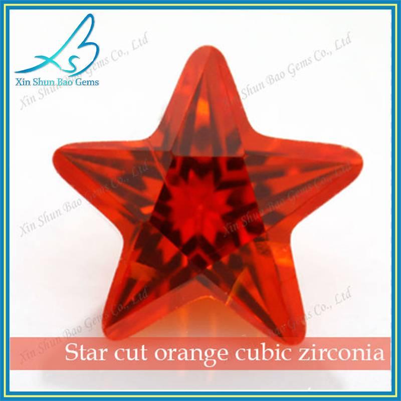 Perfect reflaction star cut orange loose cubic zirconia fake gemstones wholesale China