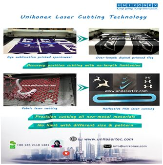Fabric and Dye sublimation printed fabric laser cutting by Unikonex