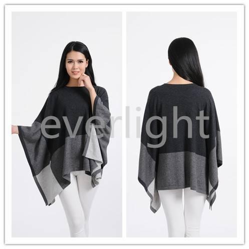 Women fashion pure cashmere plain knitting poncho