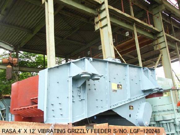 USED RASA 4' X 12' VIBRATING GRIZZLY FEEDER WITH 11KW. 50HZ/200V VARIABLE SPEED MOTOR