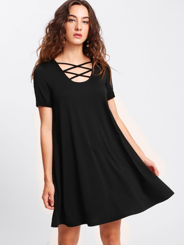 Criss Cross Front Loose Black Dress