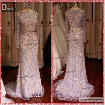 2015 Real Long Sleeves Full Beaded Floor-Length Luxury Elie Saab Evening Dress Real For Sale