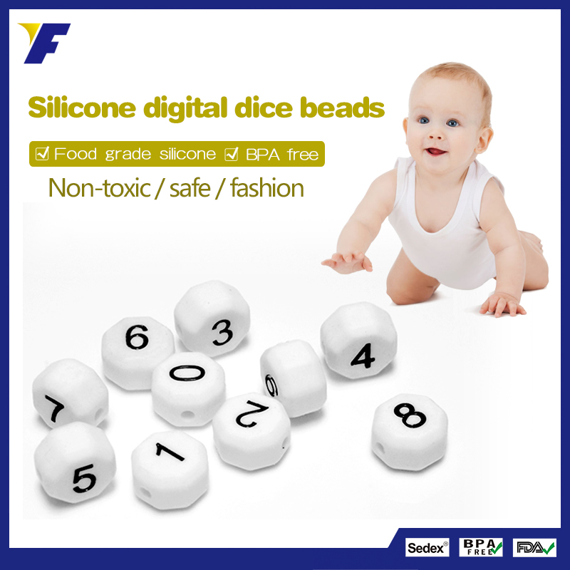BPA Free Food Grade Number Silicone Beads with Teether