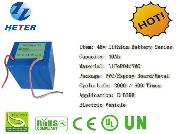 48v40Ah EV/Bike/Scooter/Moped Battery; Storage Battery; LiFePO4/NMC Battery Series; Solar; Wind