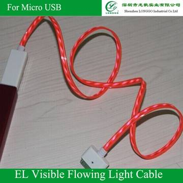 EL Visible Flowing Light Data/Charging Cable for cellphone, Available in red,Blue, Green and Purple
