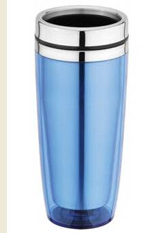 Plastic outer, stainless steel travel mug
