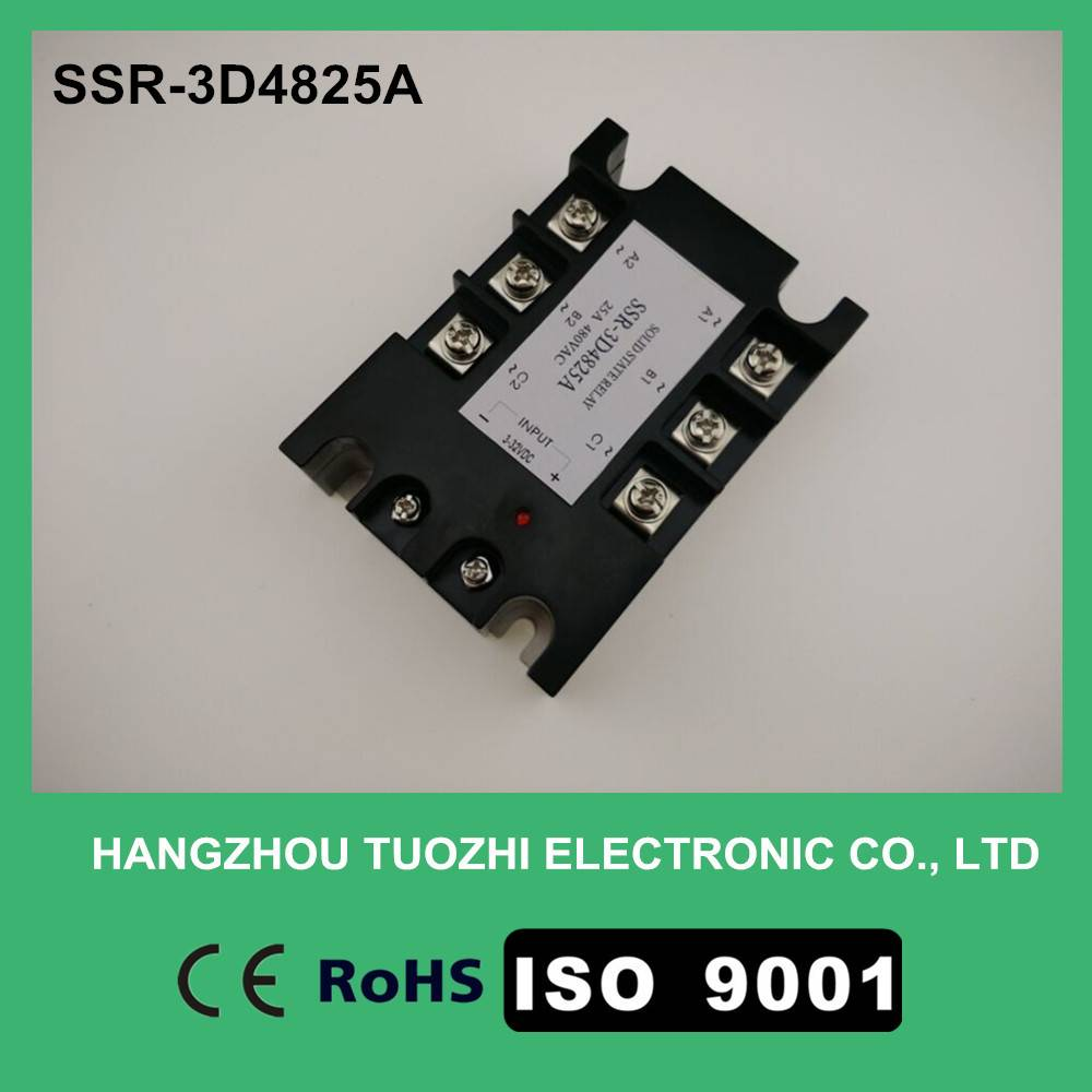 Three phase solid state relay 25a 3-32vdc input SSR-3D4825A
