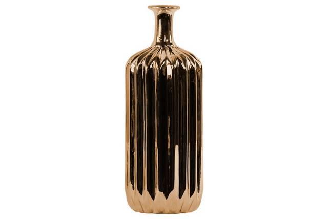 Ceramic Bottle Vase with Corrugated Belly