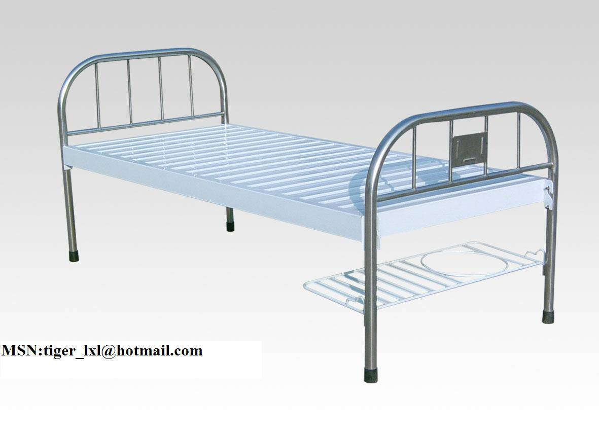 Flat bed with stainless steel medical bed headA-64