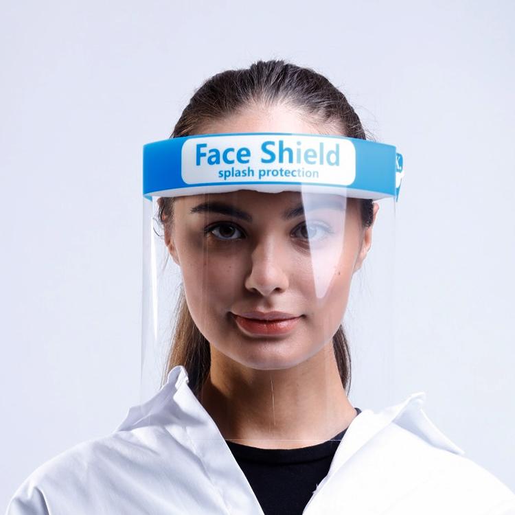 Anti- Splash and Splatter Safety Fluid Resistant Anti-Fog Transparent PET Face Shield
